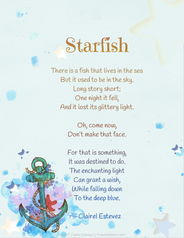 Starfish from the sky to the sea for Fish songs for preschoolers