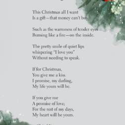 Beautiful Christmas wish list love poem A Gift by Clairel Estevez