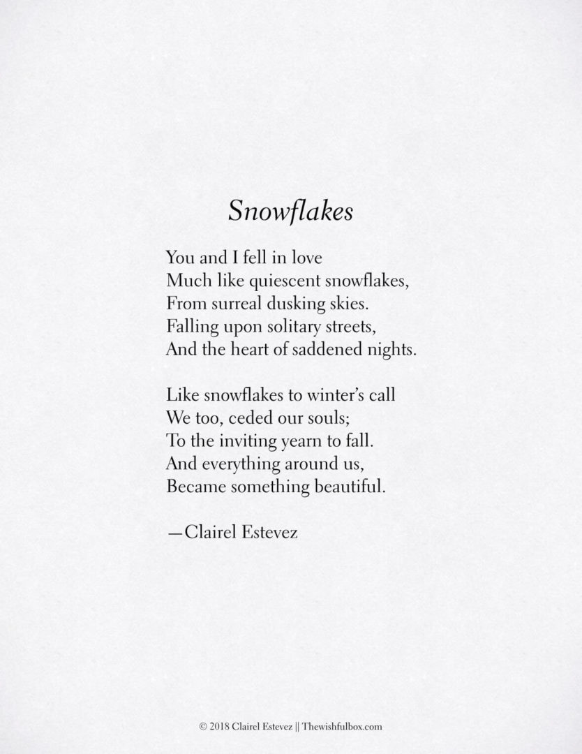 Snowflakes Winter Poem Beautiful Wintry And Nature Poetry Poems Nature is for centuries honest and kind. snowflakes winter poem beautiful