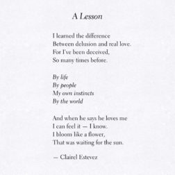 A Lesson. Inspirational poetry about love, life and beautiful words, poem, poems, by poet and writer Clairel Estevez