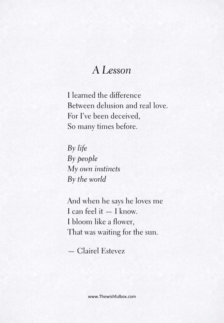 A Lesson: love poem. Inspirational poetry about love and life