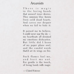 Arcanists. Inspirational poetry about love, life and beautiful words, poem, poems, by poet and writer Clairel Estevez