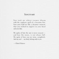 Sanctuary. Inspirational poetry about love by Clairel Estevez