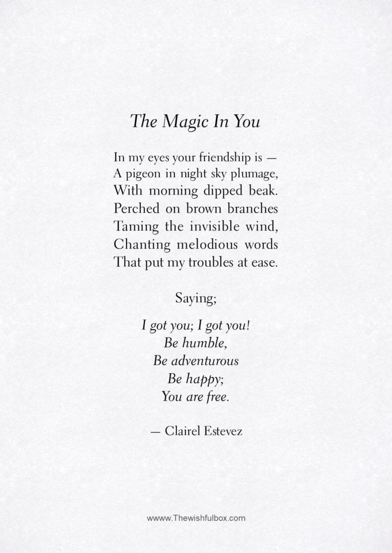 magic of love poem Best answer: when you analyse a poem you reveal its hidden meanings this poem doesn't have any hidden meanings it says being in love is very nice being in love.