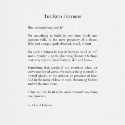 The Ruby Fortress. Inspirational poetry about love, life and beautiful words, poem, poems, by poet and writer Clairel Estevez